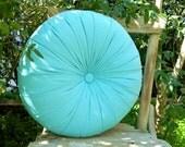 "Blue cotton 16"" round pillow"