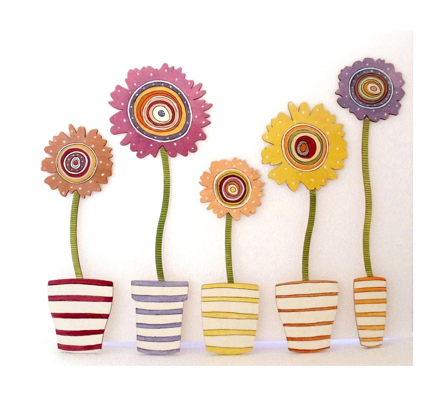 "Handpainted wooden Wall Stickers "" FlowerPower"" 5 different Styles available"