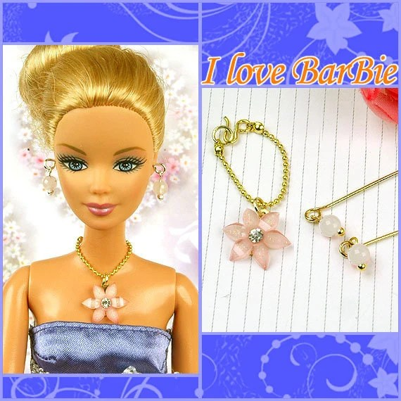 barbie doll jewelry set Rhinestone necklace and earring for barbie doll