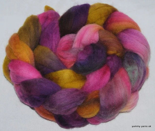 Fibre Hand Painted Polwarth top ,roving fiber  103g