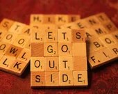 Scrabble Coasters with Recycled Wood Scrabble Tiles And Sturdy Game Board Backing Set Of Four GREAT OUTDOORS - COOLBOYCREATIONS