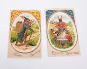 Vintage Postcards Easter Bunny 1910 Gold Foil Embossed Made in Germany