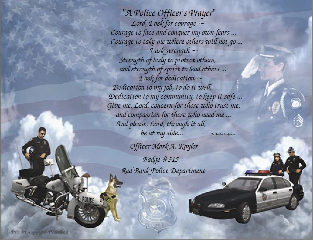 A Police Officer Prayer Personalized Gift Keepsake and Remembrance Plus 4 more
