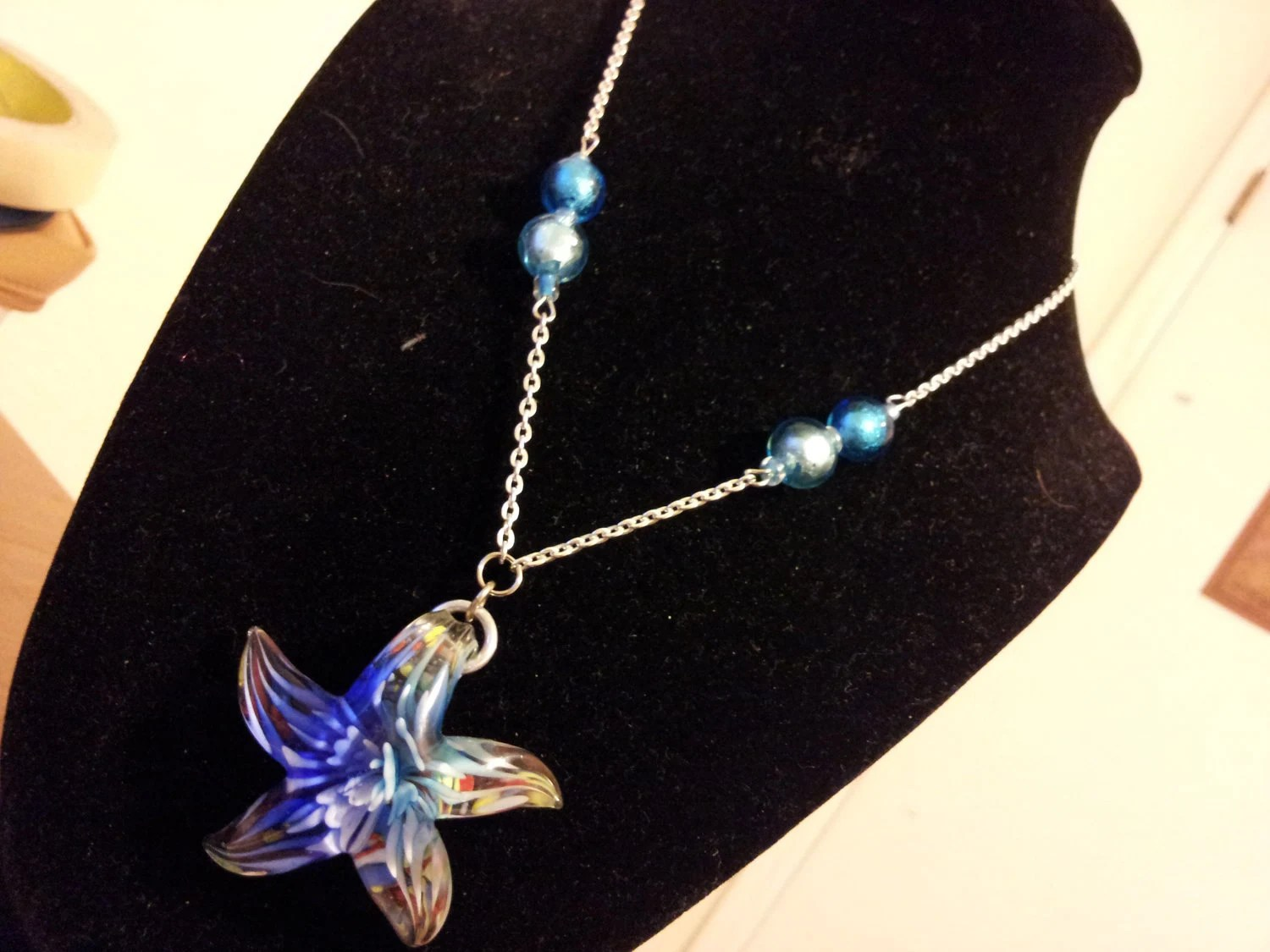 Summertime Swim star pendant blue necklace