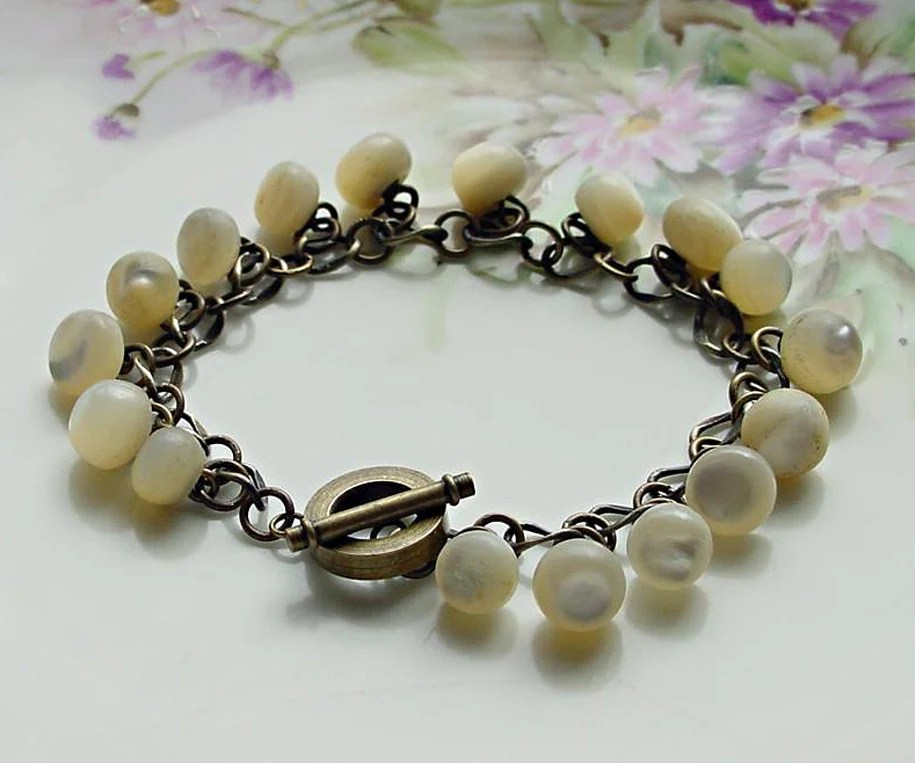 Vintage Button Bracelet White Mother of Pearl - 2Good2BeThrough