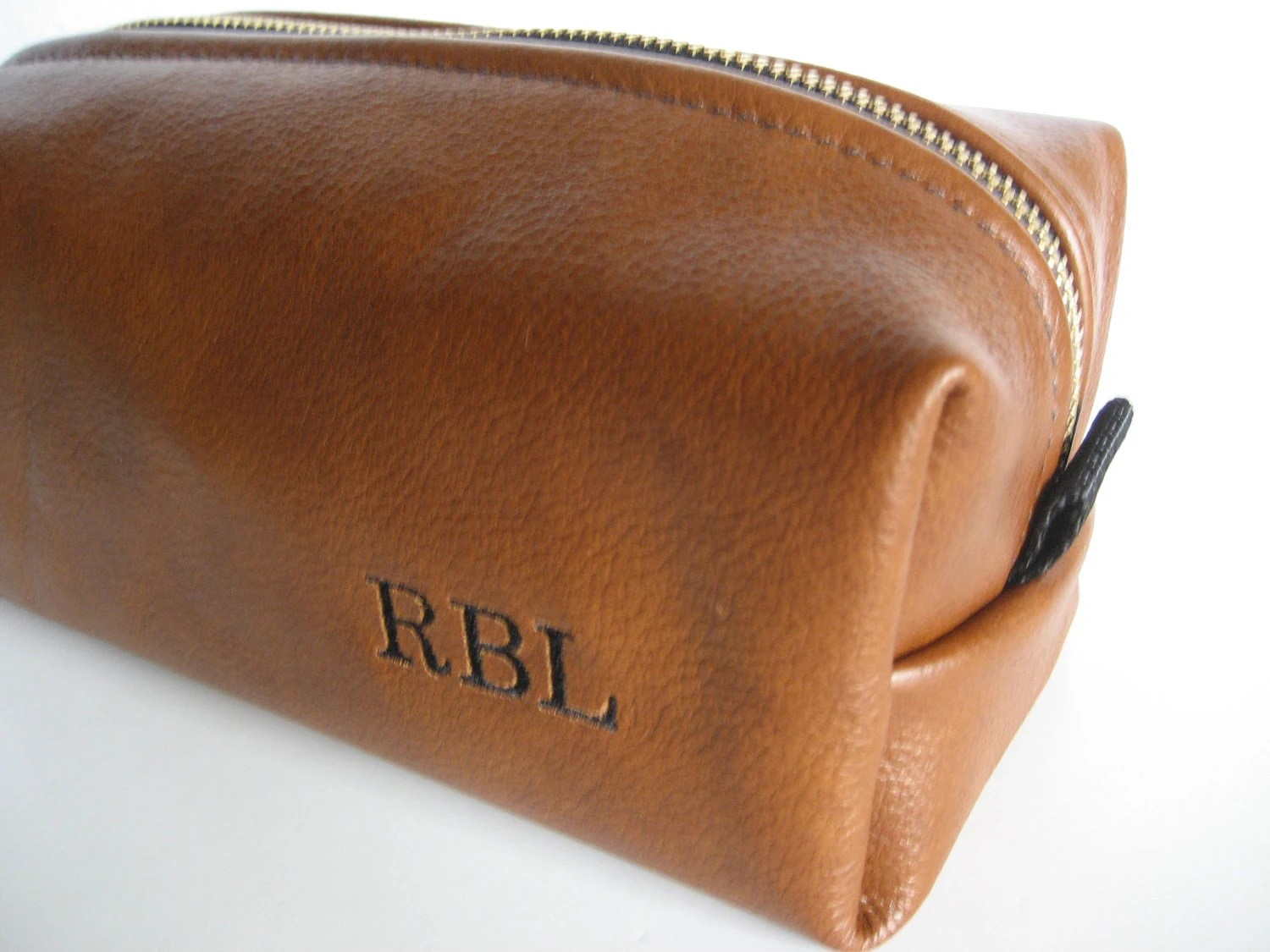 Personalized Leather Toiletry Bag for Dad Fathers Day Gift for Dad Free Personalization Handmade - FelixStreetStudio