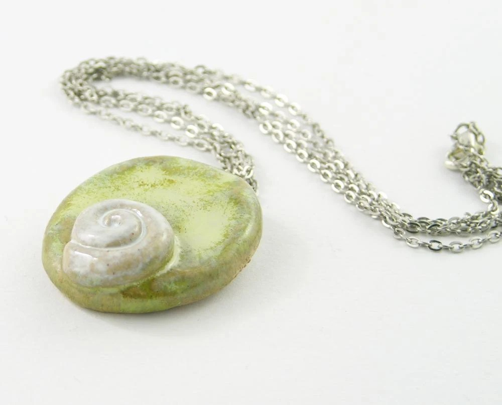 necklace choker ceramic pendant on silver chain pale pastel green milky white snail shell sea beach modern organic nature free shipping - PiaBarileJewelry