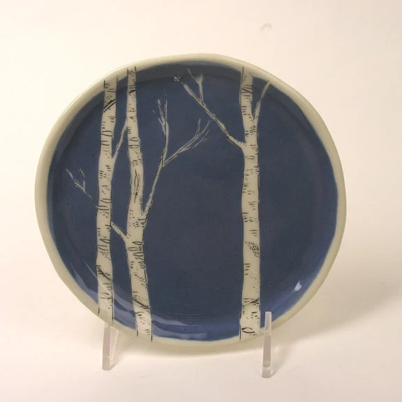 New Color - Blue Birch Dessert Plate - JosiesPotShop