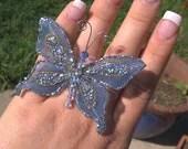 Adjustable Blue Glitter Butterfly Ring - DamonsDuet