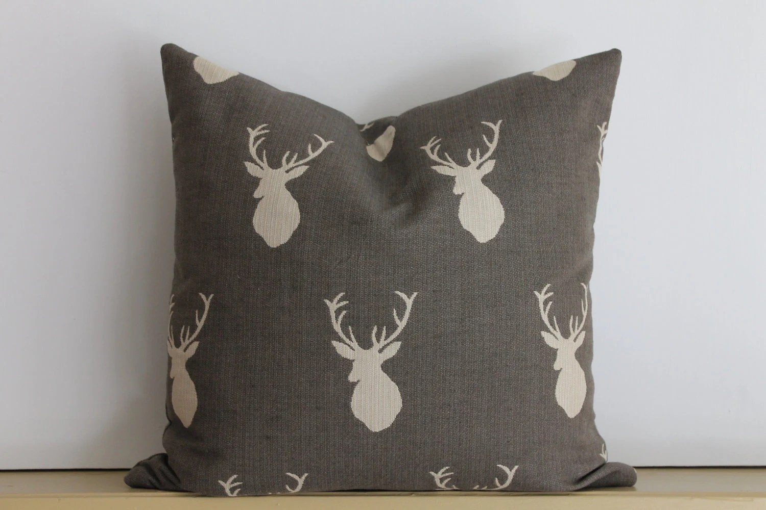 "Designer Gray and White Stag Silhouette Pillow Cover 20""x20"""