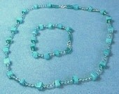 Handmade Seed Bead and Gemstone Necklace and Bracelet set