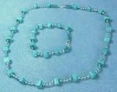 Handmade Seed Bead and Gemstone Necklace and Bracelet set