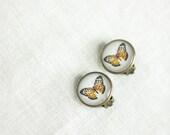 Clip On Ear, Ear Clips, Butterfly Earrings, Bronze Earrings - HelgaYutt