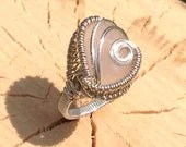 Sterling silver wire wrapped, rose quartz ring - sierralovejoy