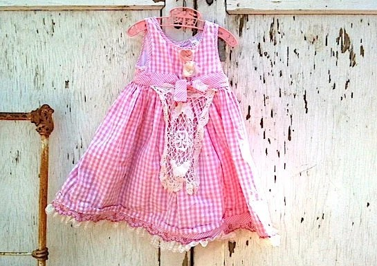 spring summer pink blossom Toddler dress little Girl Country Birthday gingham polly flinders Shabby Chic Lace Rustic kateblossom - kateblossom