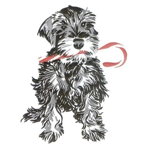 Schnauzer with Candy Cane-- Holiday Letterpressed Card Set
