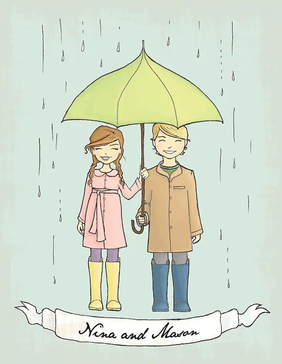 Umbrella Save the Date Cards.Vintage inspired cusomtizable. Hand drawn.