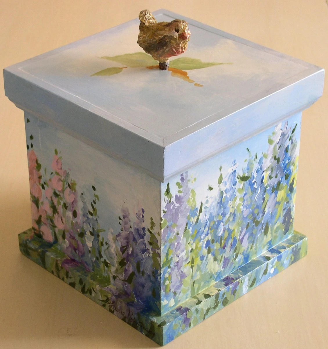 Painted Landscape Nature Art Wood Keepsake Box with Saying and Crafted Bird