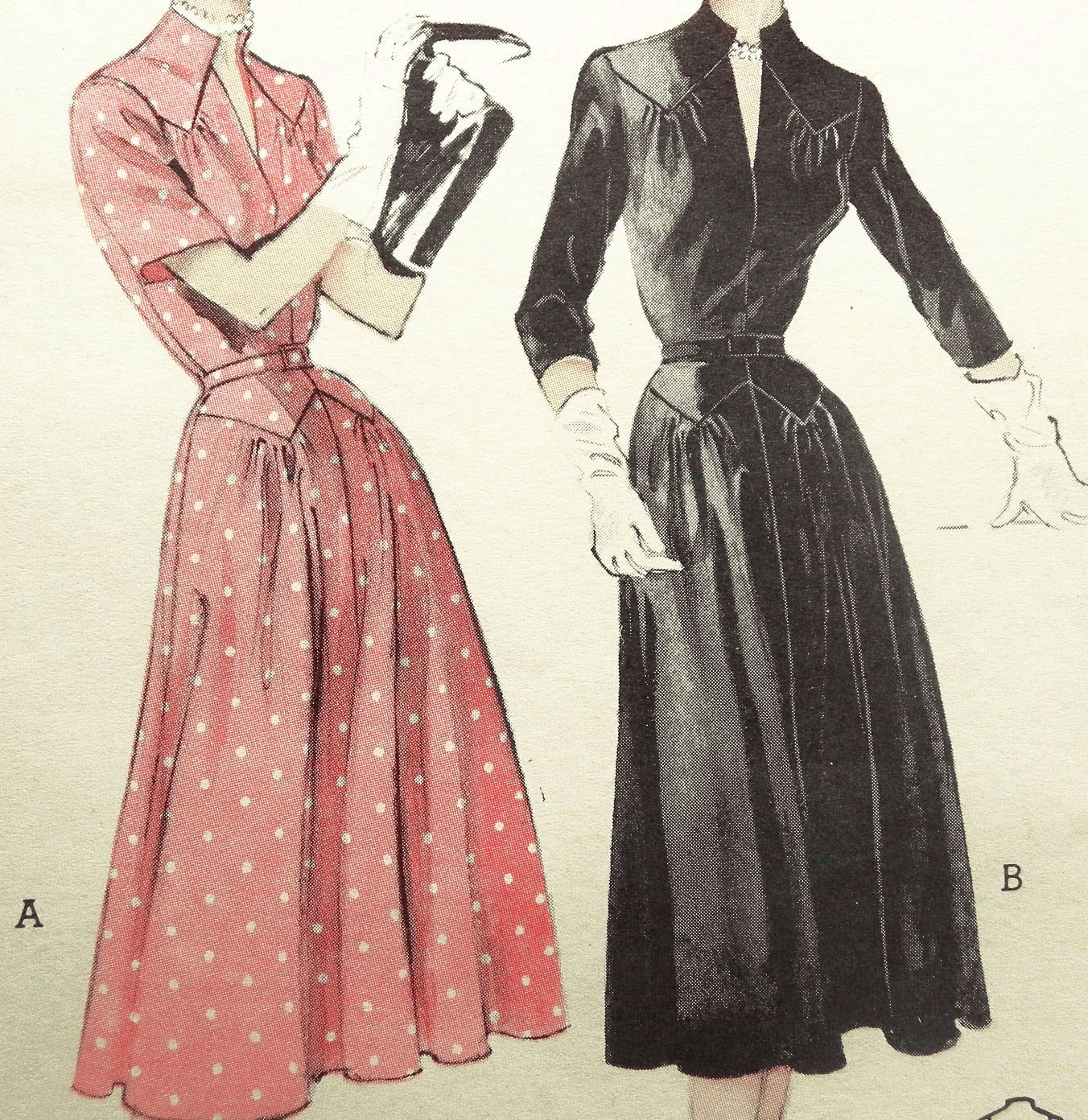 1950s Butterick 6499 Vintage DRESS Pattern Stand Up Collar  SLIMMING Yoke Skirt  Bust Size 34 Uncut FF