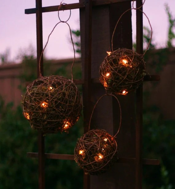 SET of 3 Outdoor Rustic Wedding Decoration Candles Firefly Lightning Bug Lanterns