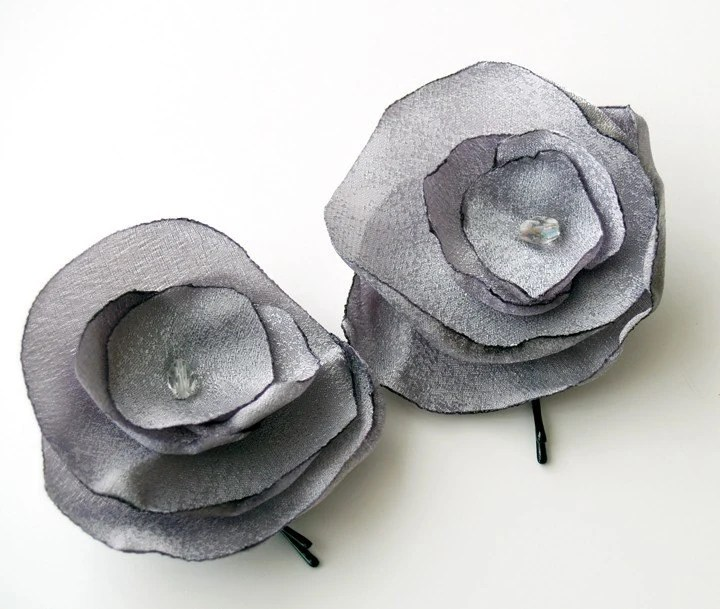 Silver Fabric Flower Bobby Pins