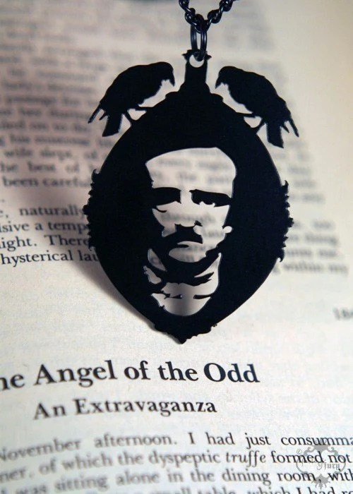 Edgar Allan Poe raven cameo necklace in black stainless steel - halloween horror portrait pendant - as seen on Boing Boing