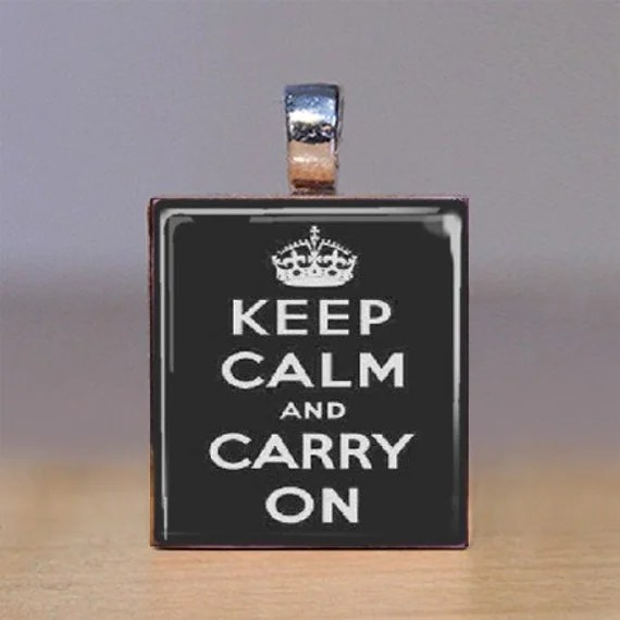 Scrabble Tile Pendant - Keep Calm and Carry On - Black - Large Print