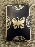 RARE 1927 COMPACT Lucretia Vanderbilt  Butterffly Enamel signed Mirror Rouge