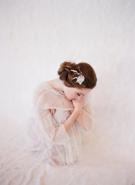 Rhinestone, silk tulle and feather hair bobby pin, bridal - Ethereal Firefly