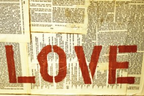 "Red Letter Words  ""LOVE"" original canvas painting"