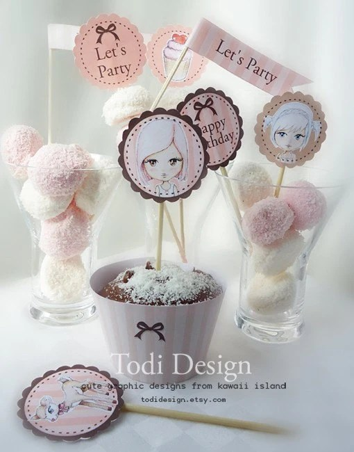 Paper Doll Mini Party Set Personalized with name and age - PRINTABLE PDF