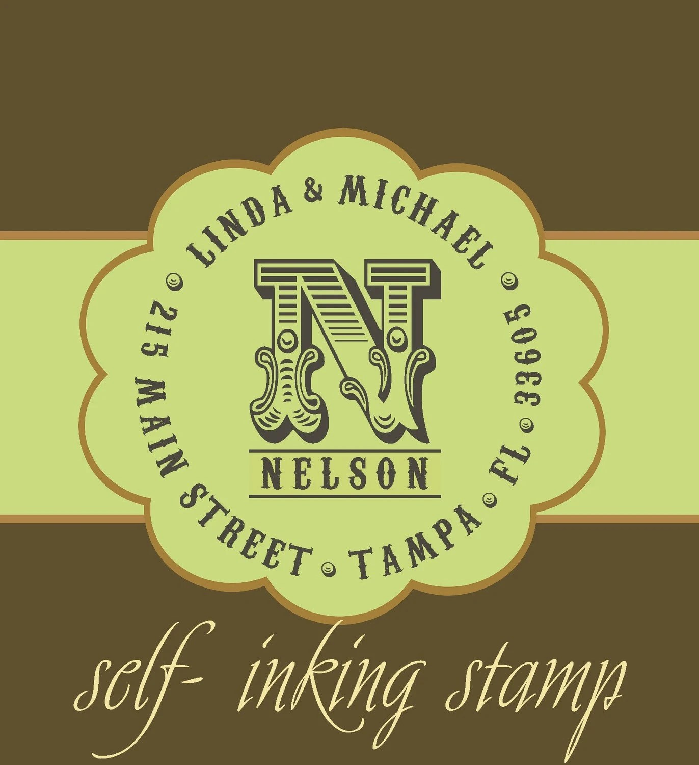 Vintage Antique Self - inking CUSTOM TEXT personalized monogram return address stamp - great wedding gift - MS5311B