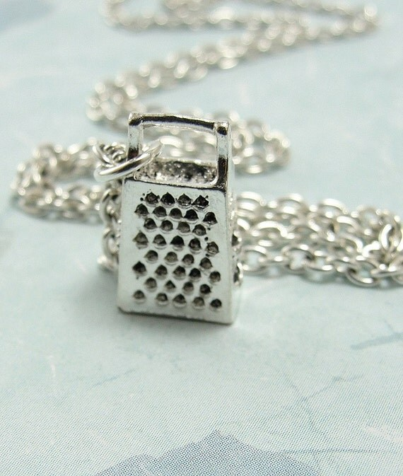 Cheese Grater Necklace - Silver Plated Charm on a 17 inch Cable Chain