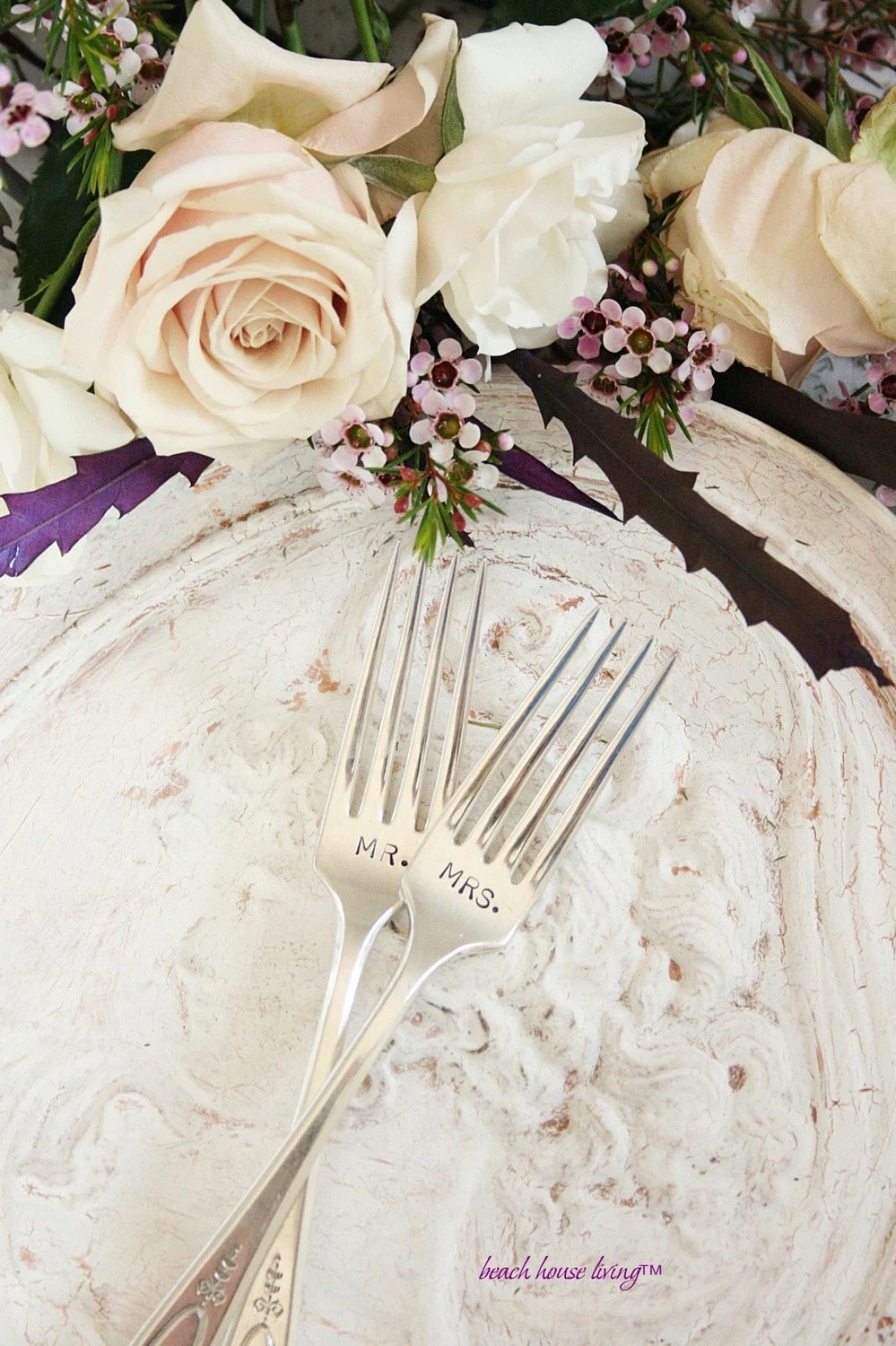 Vintage Silverware Mr. and Mrs. wedding  forks  recycled silver plated flatware Adam 1917