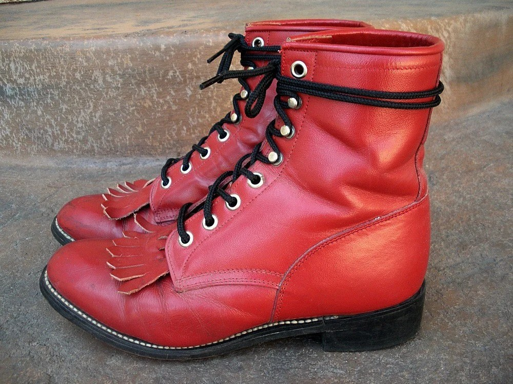 Size Women's 8 or JUNIOR 4 1/2 D- 1980s Justin Boots Lace-Up Red Ropers with fringe