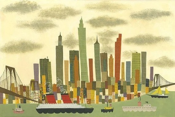 Manhattan.  Limited edition 13x19 print by Matte Stephens.