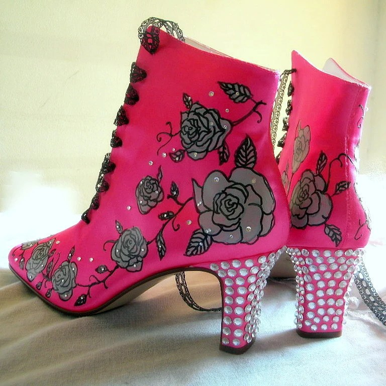 Wedding Shoes painted boots hot pink tattoo roses crystals