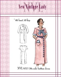 NVL 1930s side button sport frock 46 bust PLUS SIZE