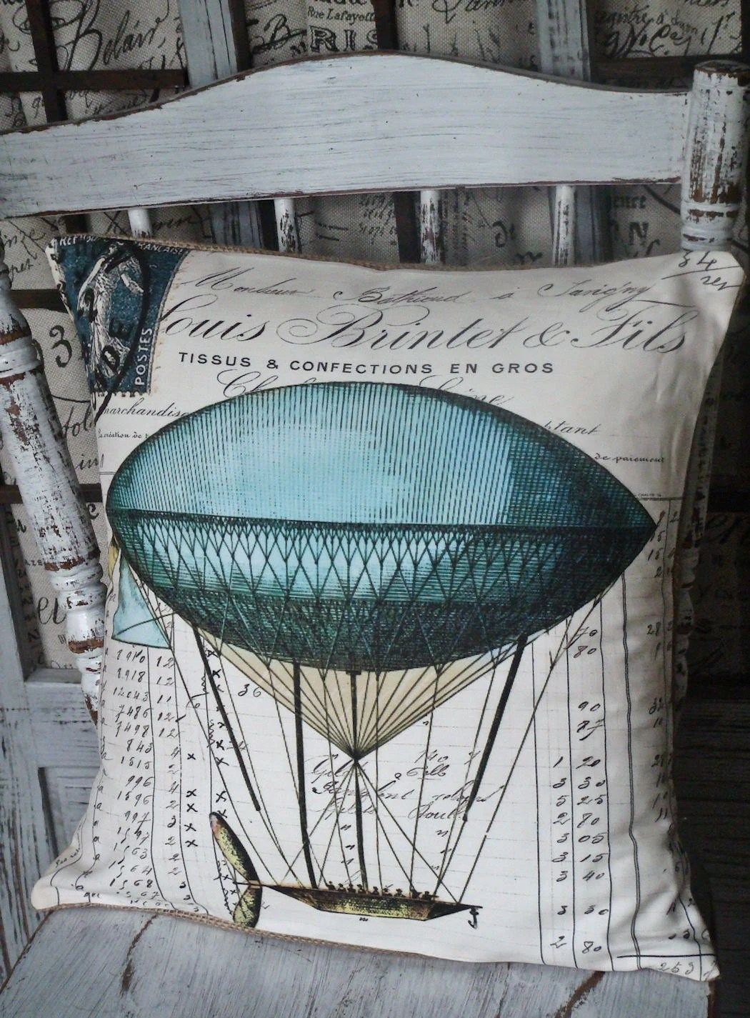 Pillow Cover Vintage Hot Air Balloon Cotton and Burlap Pillows