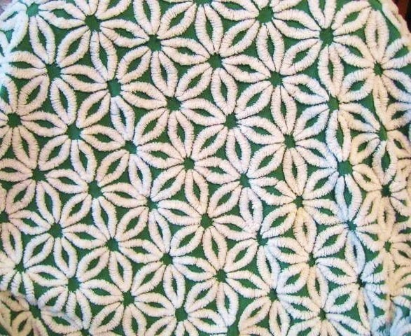 Vintage Chenille Bedspread Fabric Emerald Green and White Hofmann Daisy