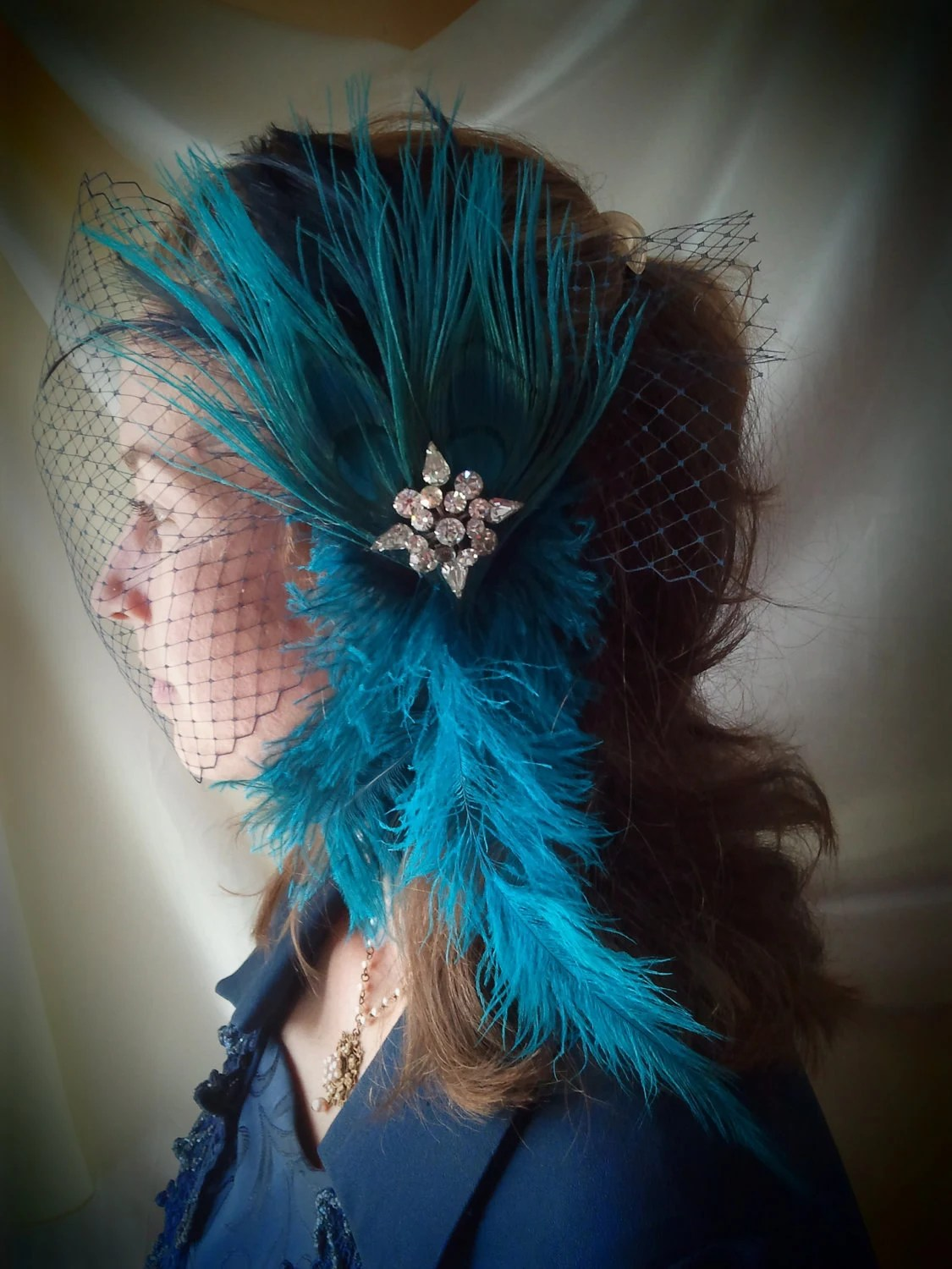 "Bird Cage Veil with Attached Fascinator ""Blue Drama"""