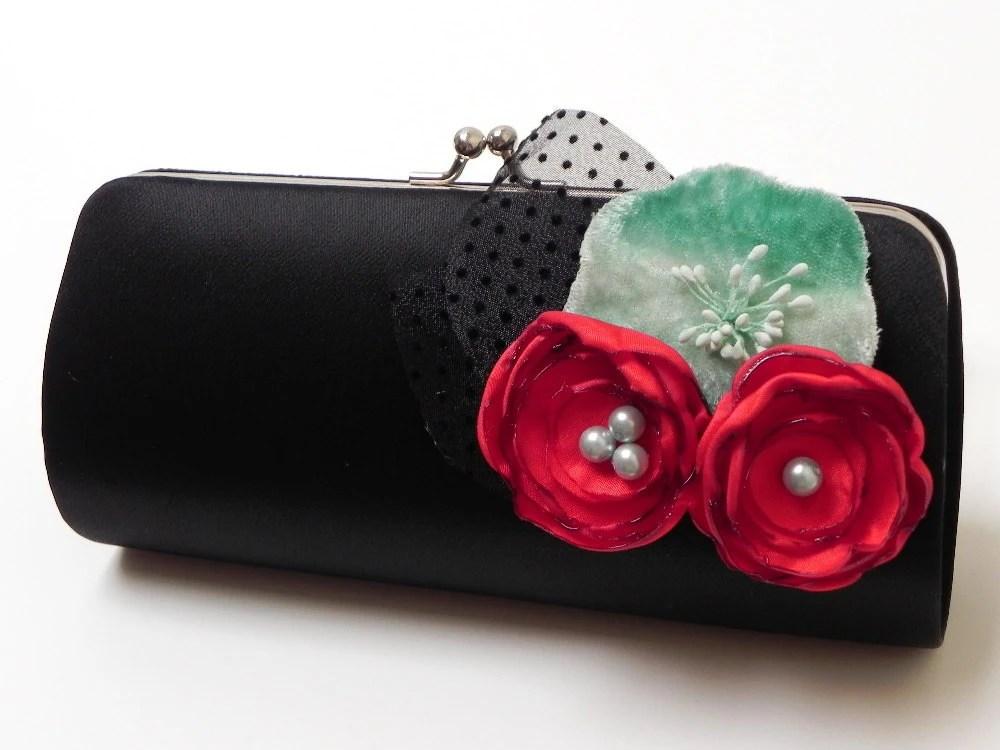 Bridesmaid Clutch Rockabilly Retro Black Clutch - Cherry Red & Velvet Aqua Flower Blooms - Bouquet Clutch -Kisslock Snap Clutch - 50's Glam