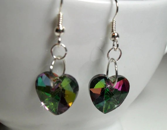 Crystal Heart Earrings - $12.00