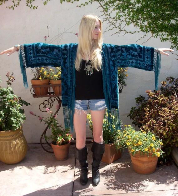 Turquoise Burnout Silk Velvet Jacket with Fringe