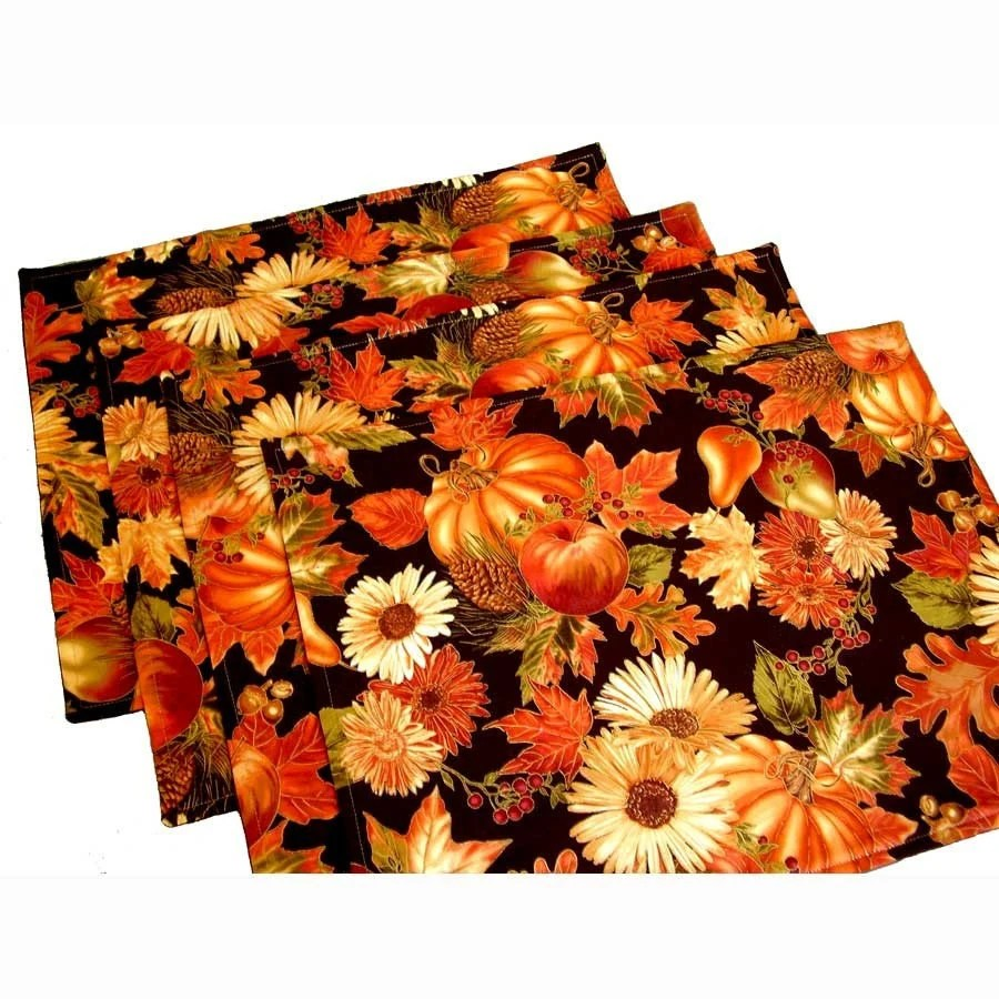 Thanksgiving Placemats and Cloth Napkins- Floral- Fall Festival of Thanksgiving