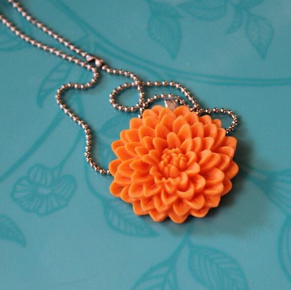 SALE - orange chrysanthemum flower necklace on chain