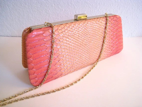 Art Deco Art Nouveau Salmon Pink Snake Skin Handbag Clutch Purse