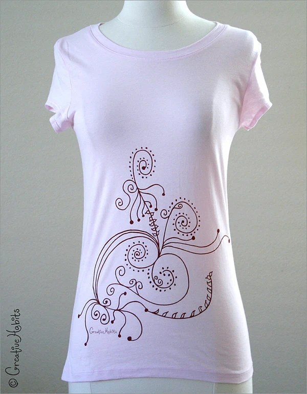 Botanical art 14 - hand screen printed on Ladies Sheer Jersey T-Shirt - Sizes S, M, L, XL