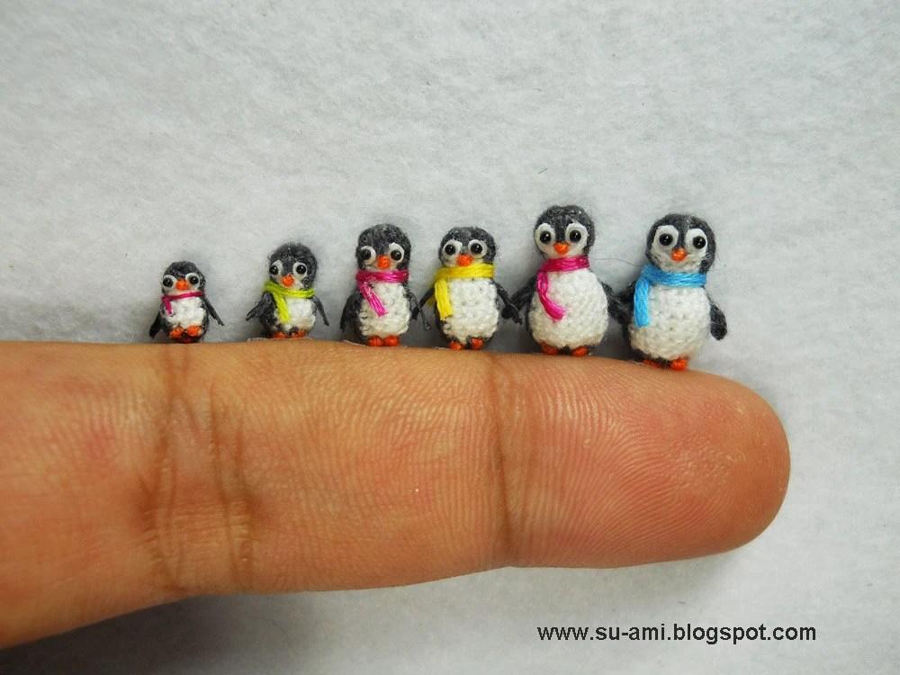 Micro Penguin Family - Tiny Miniature Penguins - Set of Six Penguin Chicks - OOAK