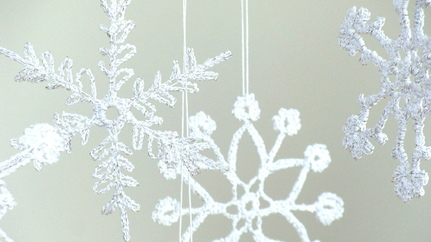 6 Lace Crochet snowflakes, christmas decoration ornament- different design silver sparkling
